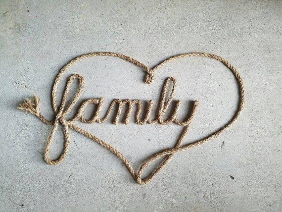 Rope Art Family Love by LassoLettering on Etsy