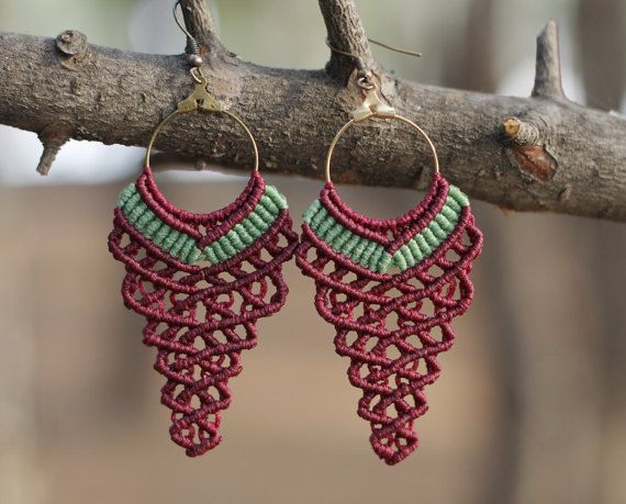 Burgundy grape shaped earrings - boho style, hippie earrings, women earrings, bohemian earrings, gipsy jewelry, Birthday gift!!