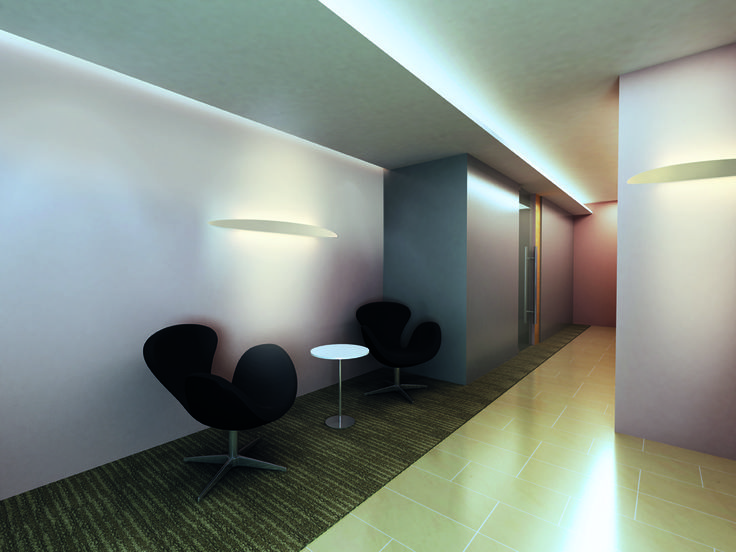 Ci design S. Cornelissen  Series of large sized wall lamps for grazing light. The aluminum structures are fitted with powerful latest generation linear LED circuits. Integrated converter. Available in white or black finishes.