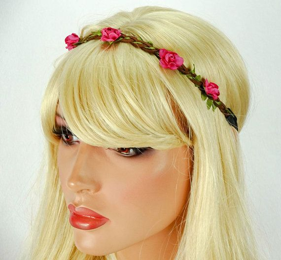 Flower Crown Hot Pink Flower Headband Hippie Flower by JuicyBows