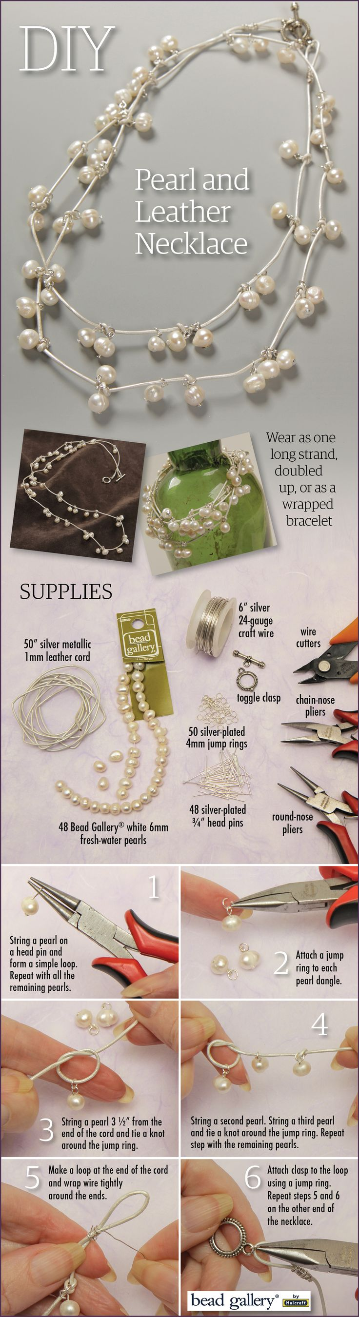 DIY Pearl and Leather Necklace