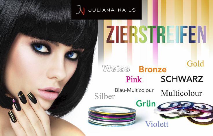 Zierstreifen in trendigen Farben erhältlich. Juliana Nails 8 Stores in Österreich und unter www.juliana-nails.com immer für Sie da.  Dein Juliana Nails Team - mach´s dir doch selbst
