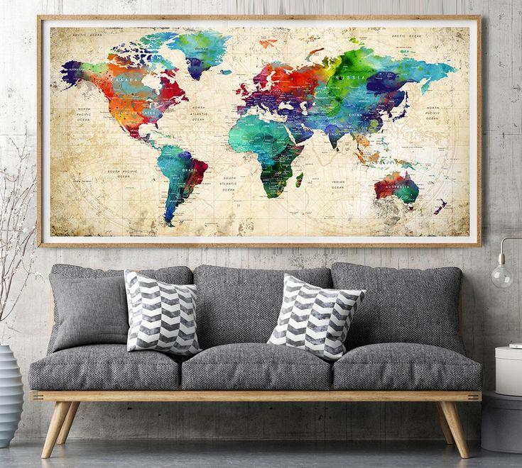 Large wall art, world map print, poster, Detailed world map, watercolour travel map, travel gift, office decor, home decor, WallArtPrints -L137