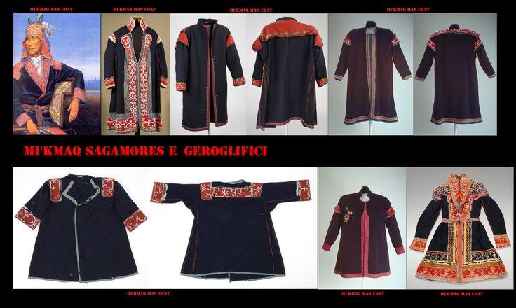 Cappotti maschili del 19° secolo- I Mi'kmaq hanno nel tempo evoluto il loro abbigliamento. Con i primi contatti con gli europei le originarie vesti di pelle, con l'eccezione di mocassini, tendevano ad essere sostituite con capi fatti di stoffa commerciale europea, nel19° secolo divennero comuni per gli uomini cappotti in stile militare.