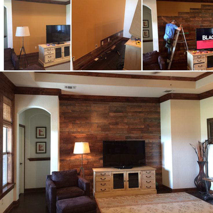 Laminate flooring on an accent wall. We used Pergo Max River Road Oak