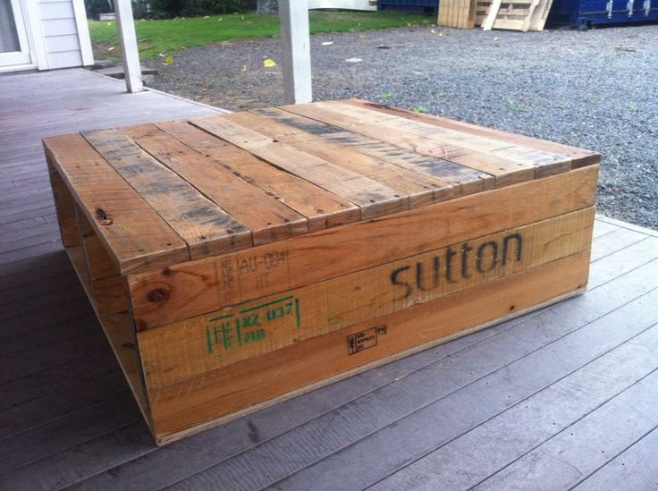 Coffee Table Made from Pallets before the wheels where put on