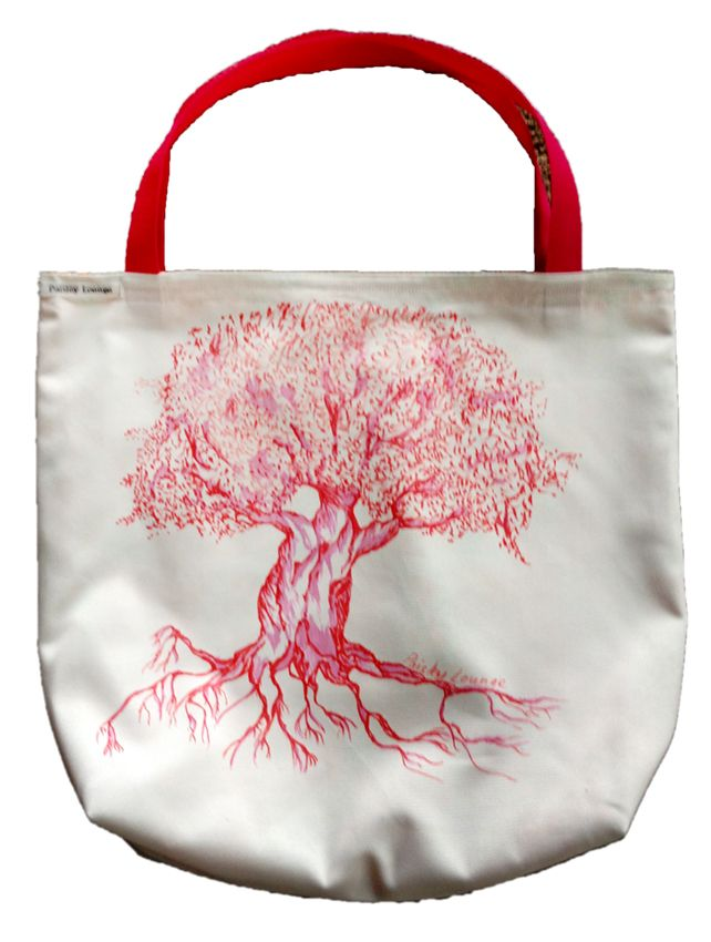 Tree Tote - hand painted, fully lined with webbing handles