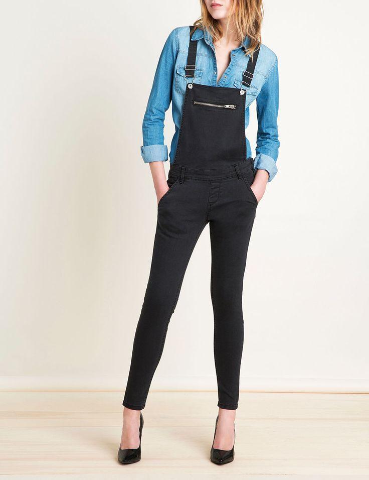 Salopette en jean noire femme • Jennyfer