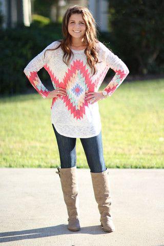 Tall Order Sweater Aztec Tunic - Pink | Hazel & Olive