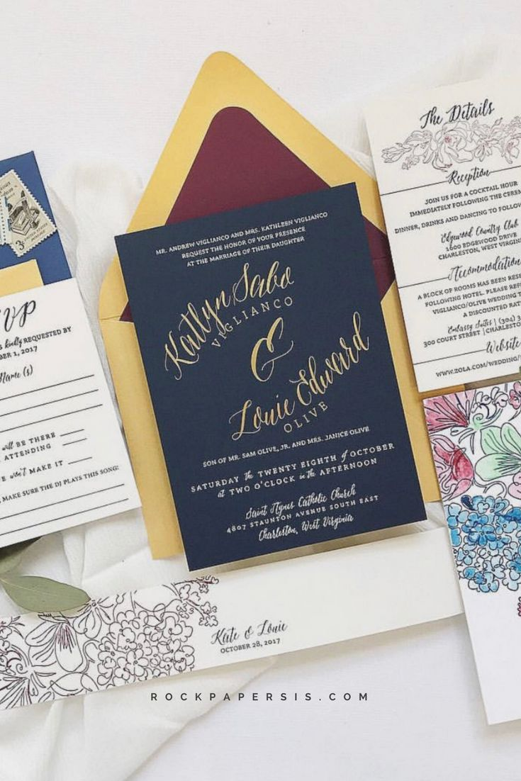 Gorgeous navy and gold foil wedding invitation
