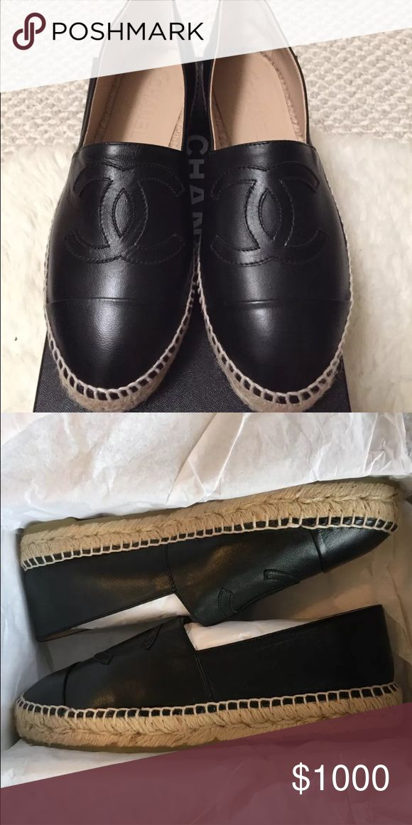 Brand new in box Chanel espadrilles size 40 US 9 These are sold out guaranteed authentic black leather Chanel espadrilles in a size 40 runs small Us 9 I am negotiable off of here please don't comment on price I am well aware of price CHANEL Shoes Espadrilles