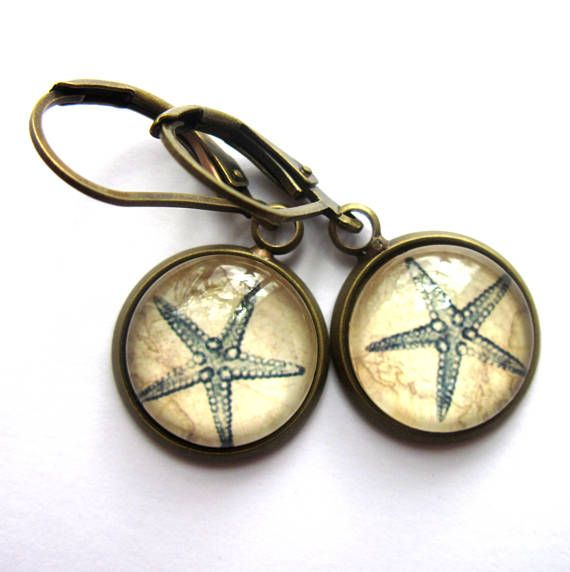 Blue Starfish Glass and Brass Earrings Vintage Style Sepia