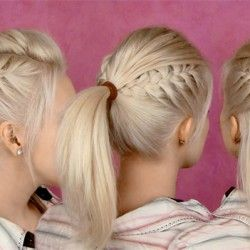 braided half updo and ponytail party hair tutorial