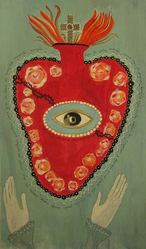 Constanza Silva, Folk Art Mixed Media painting of The Sacred Heart. Originally pinned by the artist.