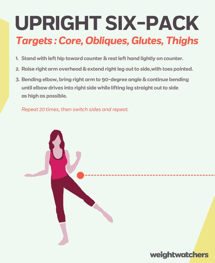 This easy workout keeps your abs fit, a crunch you can do while standing in three easy steps!