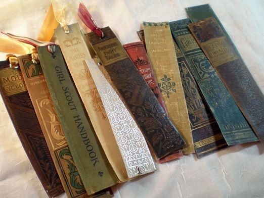Old book spines made into bookmarks...what a great way to keep a small part of an old book!