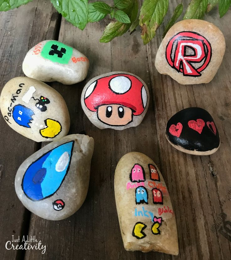 painted rocks gaming series (Rock Painting) (Minecraft Creeper,Pacman, Mario Brothers, Roblox, Pokemon)