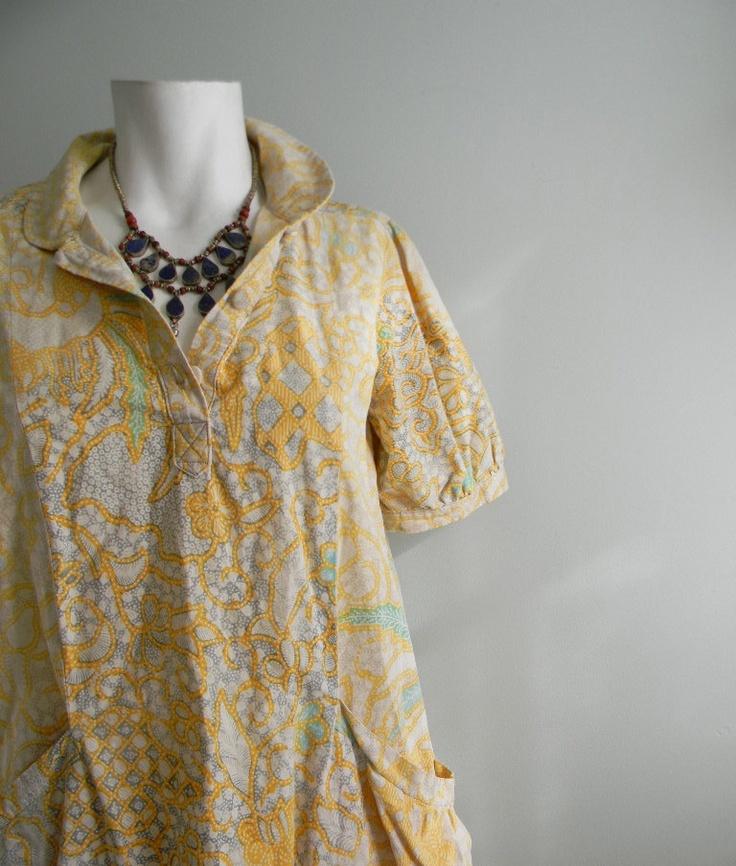 vintage. 60s Indonesian Yellow and Green Batik Dress // Vintage Worn Cotton Dress // S M L. $42.25, via Etsy.