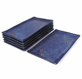 Blue Dragonfly Sushi Plate Set