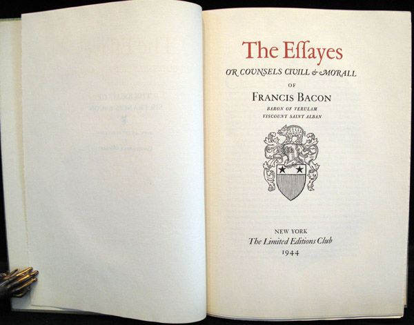 francis bacon essays of death Vol 2 has title: the essays of francis bacon containing the advancement of learning, natural and human philosophy, moral knowledge, theology, &c to which.