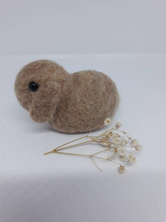 Felted Dwarf Bunny Lop Eared Rabbit In Honey Brown Ornament