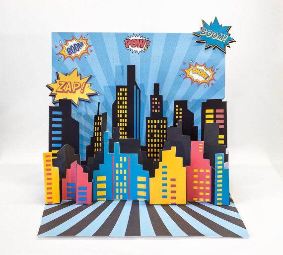 3D Super Hero City Scape Backdrop Centerpiece by JoJoDigitalStore