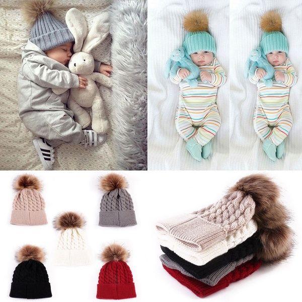 Girls Boys Winter Warmer Baby Knitted Hat Pompom Ball Wool Fur  Kids Cap