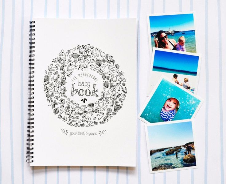 Baby Record Book to personalise yourself. From pregnancy to 5 year of age. The best baby book! Monochrome