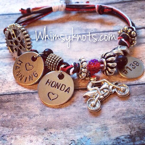 Dirt-bike charm bracelet--great for layering/stacking or alone. on Etsy, $27.00