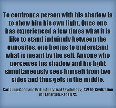To confront a person with his shadow is to show him his own light. Once one has experienced a few times what it is like to stand judgingly b...