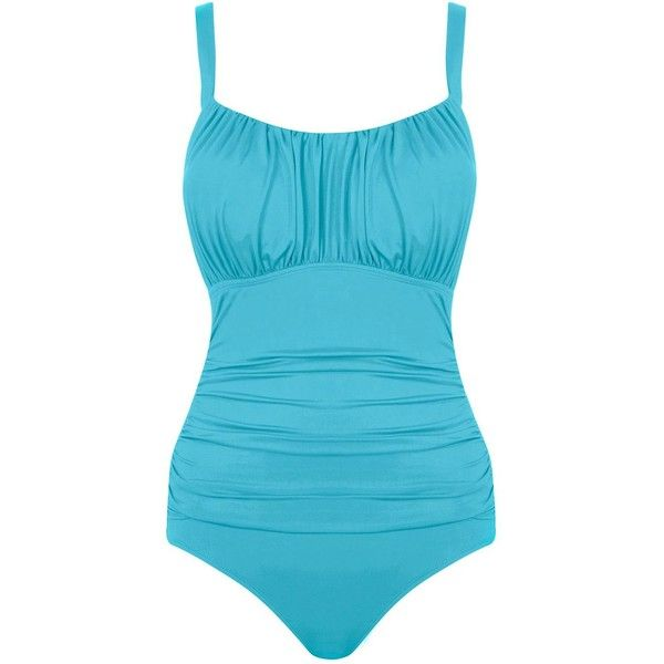 Seaspray Just Colour Ruched Strap Swimsuit Aqua ($99) ❤ liked on Polyvore featuring swimwear, one-piece swimsuits, women swimwear swimsuits, tummy control bathing suits, full coverage bathing suits, swim suits, one piece swimsuit and one piece tummy control swimsuit