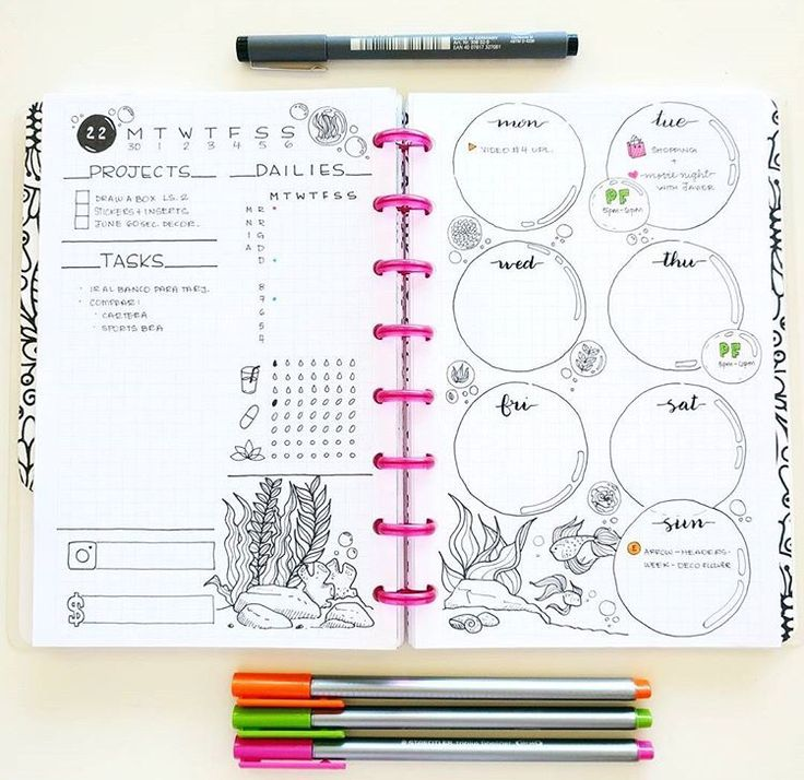 Beautiful bullet journal layout.
