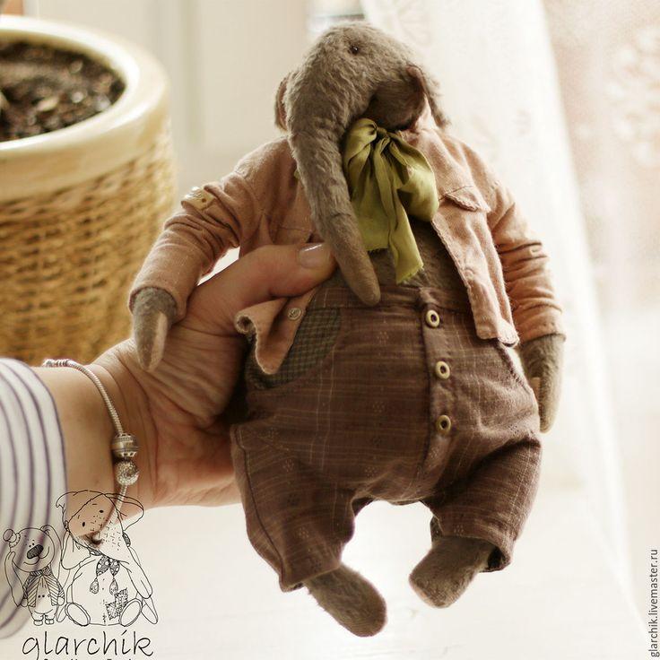 Купить слон Кардамон - коричневый, серый цвет, авторская работа, коллекционная игрушка, слон