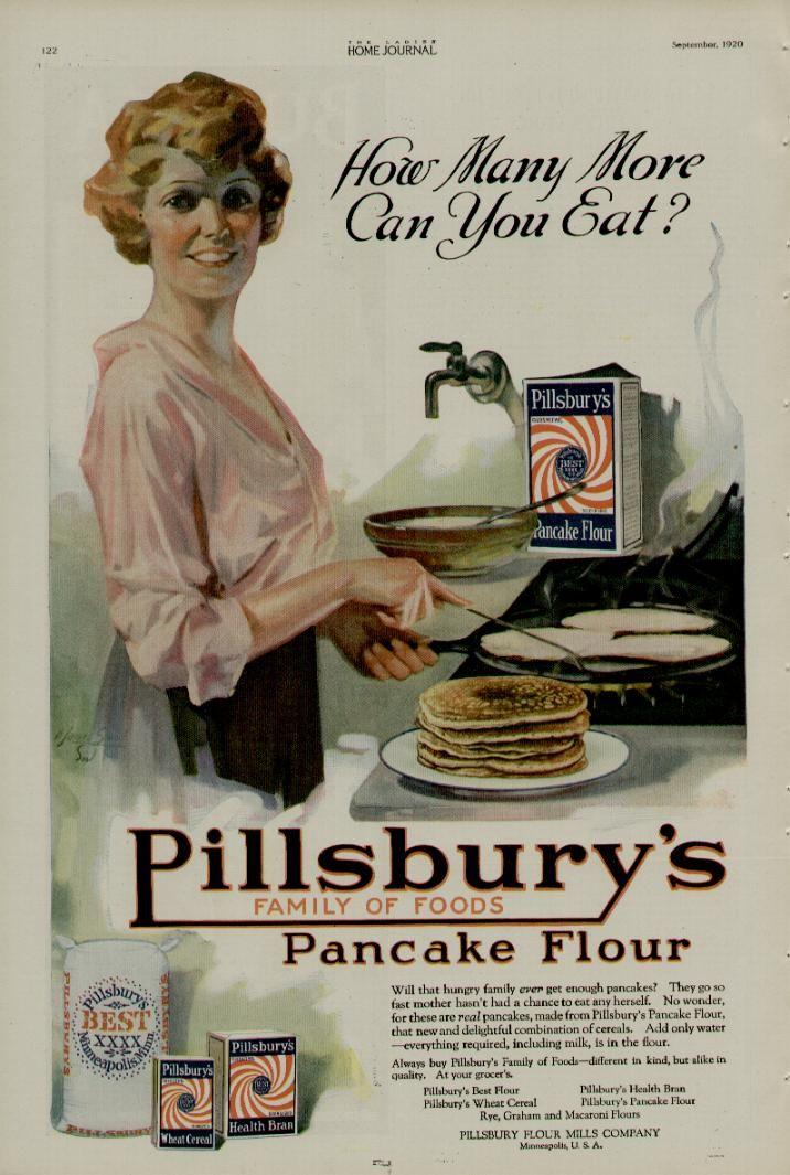 kittyinva:  1920 ad for Pillsbury flour. I wonder if Pillsbury was already using wood pulp in their mixes by then?