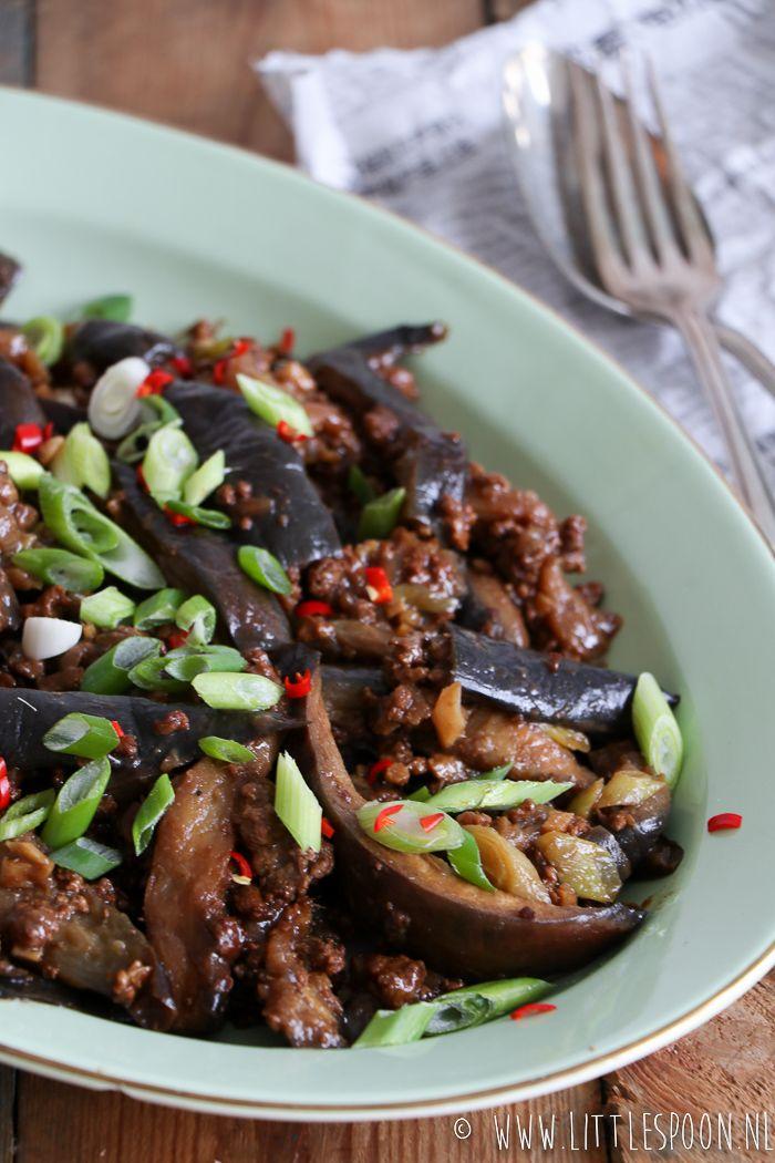 Chinese stijl gestoofde aubergine met gehakt