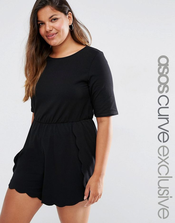 Image 1 of ASOS CURVE T-Shirt Playsuit with Scallop Hem