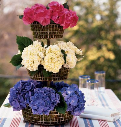 HOW is this for a table centerpiece?   Blues, Creams, and then Fuschia colored flowers on the top.