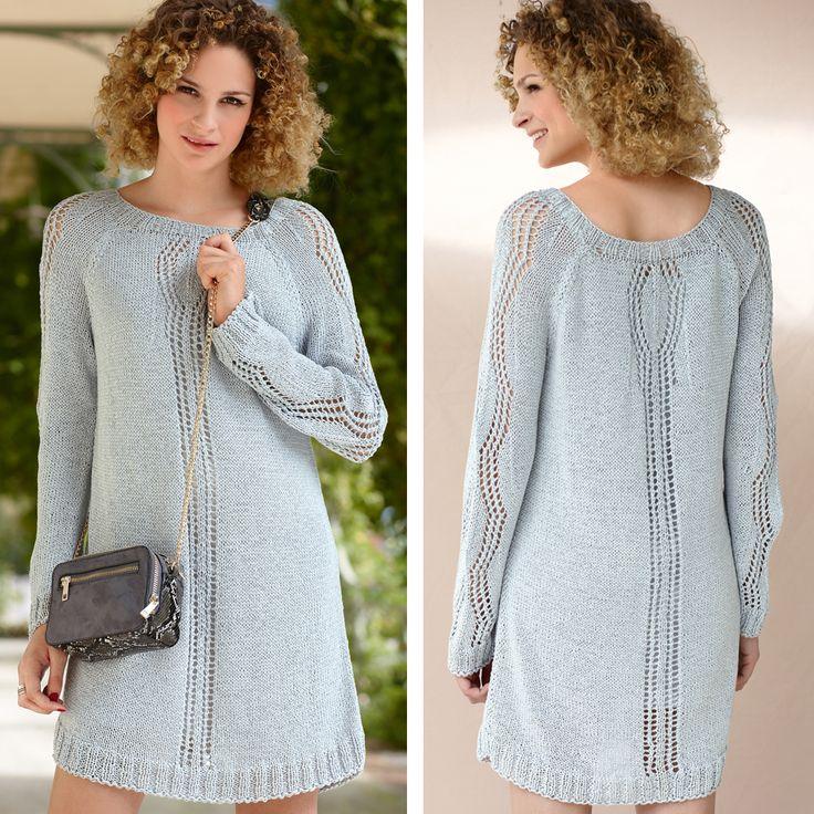 Платье с полосами ажурного узора
