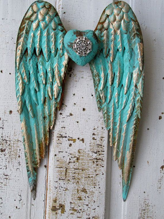 metal angel wings distressed aqua caribbean blue gold w rhinestone heart shabby cottage chic. Black Bedroom Furniture Sets. Home Design Ideas