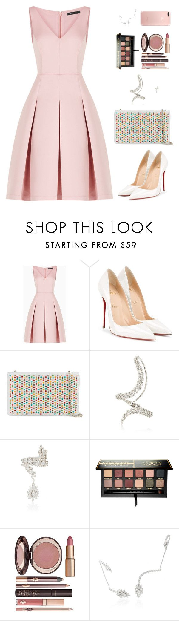 """Sin título #4519"" by mdmsb on Polyvore featuring moda, BCBGMAXAZRIA, Christian Louboutin, Yeprem, Anastasia Beverly Hills y Charlotte Tilbury"