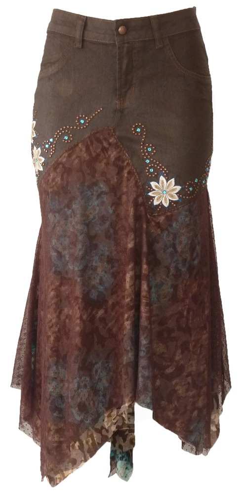 Chocolate Floral Lace Skirt - I like this style, though I'd change the colors and remove the flowers