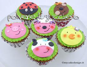 Polvere di Zucchero: cake design e sugar art. Corsi decorazione torte,biscotti,cupcakes e fiori: Tutorial cupcakes animali della fattoria: mucca, maiale, pecora, pulcino, cane e coccinella