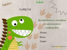 Una invitación de dinosaurio lista para imprimir y rellenar. Y además de la invitación puedes descargar pequeños letreros y rellenarlos con...