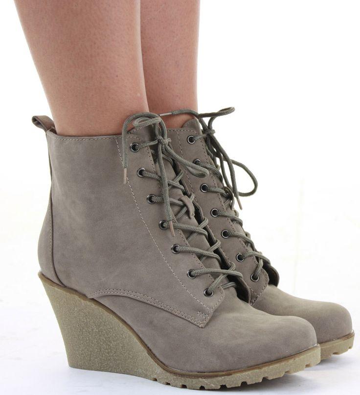 Ladies Wedge Shoes Lace Booties Wedges High Heel Platform ...