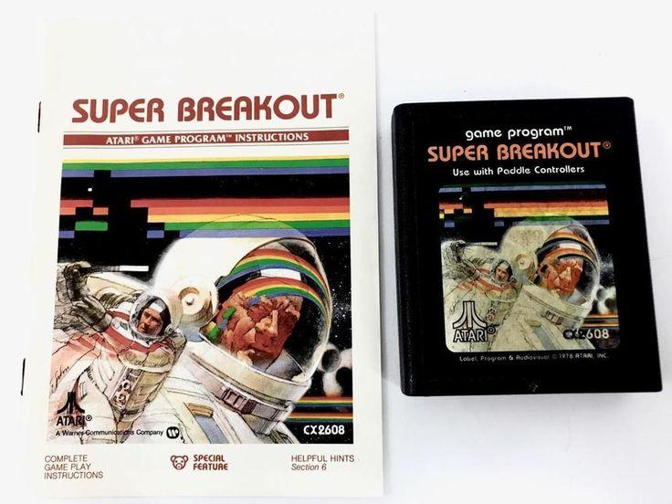 SUPER BREAKOUT 1978 Atari 2600 Video Game Cartridge & Instruction Booklet Manual