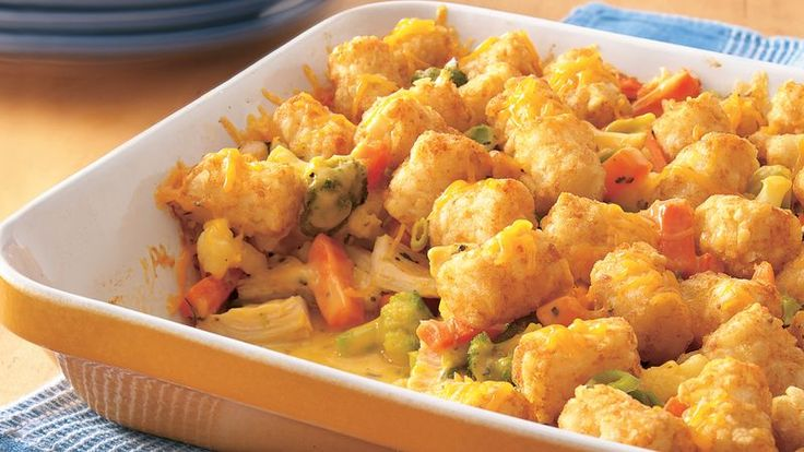 Go easy on yourself with this quick one-dish meal, topped in potato nuggets. With chicken, cheese and veggies, too, it's both delicious and well-rounded.