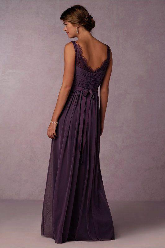 Vintage Lace Straps Pleated Long Eggplant Chiffon Bridesmaid Dress_1