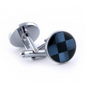Sterling Silver Circle Shaped Cufflinks Blue & Black Check