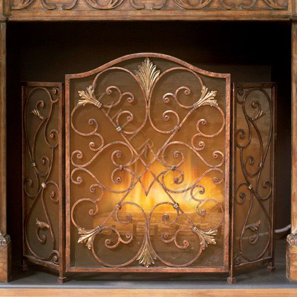 Iron Copper Tone Fireplace Screen