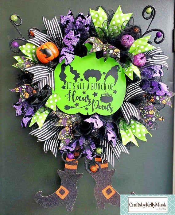 Pretty Halloween Wreath In Honor Of Hocus Pocus Deco Mesh Wreath Diy Halloween Wreath Halloween Wreath Deco Mesh Wreaths